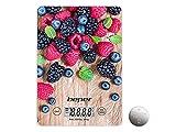 BEPER BP.803 Bilancia Digitale da Cucina Elettronica, Vetro, Frutti Rossi