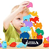 HWD Wooden Stacking Blocks Balancing Games , Animals Bricks Equilibrium Puzzles Toys , Preschool Early Educational Parent-Child Interaction Sorting Games for Toddler , Kids , Children (Dinosaur)