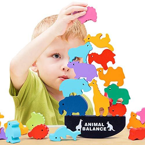 HWD Wooden Stacking Blocks Balancing Games , Animals Bricks Equilibrium Puzzles Toys , Preschool...