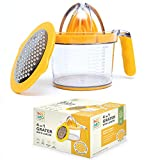 Manual Citrus Juicer Measuring Cup with Grater and Egg Separator - Orange Grapefruit and Lemon Hand...