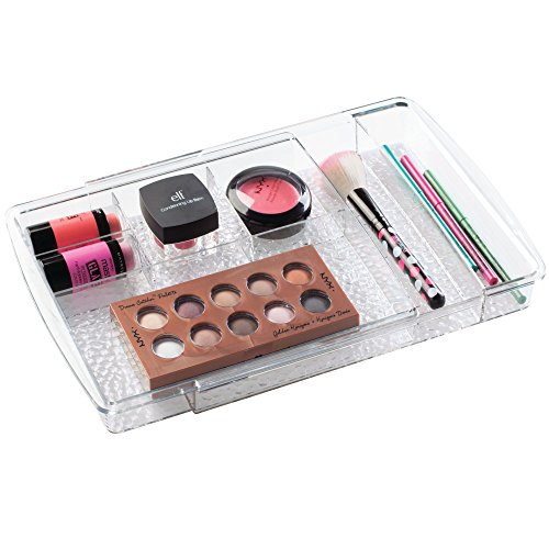 Price comparison product image InterDesign Rain Expandable Cosmetic Drawer Organizer for Vanity Cabinet to Hold Makeup,  Beauty Products - Clear