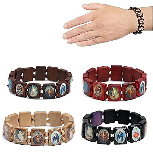 Conjunto de 4 peças de pulseira de Jesus de madeira, pulseira elástica com imagens de santos religiosos, deuses santos católicos, pulseira de manifestação de oração da Deusa Católicos - God Bless You