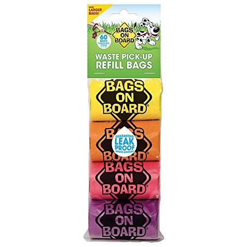 Bags on Board Lot de 60 sacs ramasseurs de déjections canines solides et étanches - Arc-en-ciel