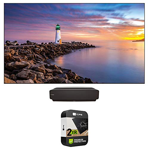 """Hisense 120L5F 4K UHD HDR Ultra-Short Throw Laser TV Projector with LTS120AFA 120"""" ALR Display Screen Bundle with 2 Years Extended Protection Plan"""