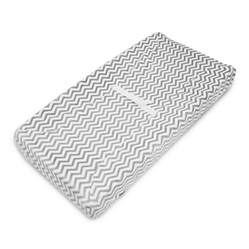 TL Care Heavenly Soft Chenille Fitted Contoured Changing Pad Cover, Gray Zig Zag by TL Care