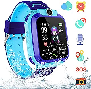 AGPS Waterproof Kids Smart Watch for Students, Girls Boys Touch Screen Smartwatch with AGPS/LBS Tracker Voice Chat One-Key SOS Help Anti-Lost Calling Phone Watches (S12 Blue)