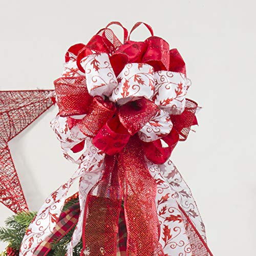 Christmas Tree Topper,Christmas Ornament with Glitter Satin Mesh Streamer,for Your Christmas Decor & Gift(Red)