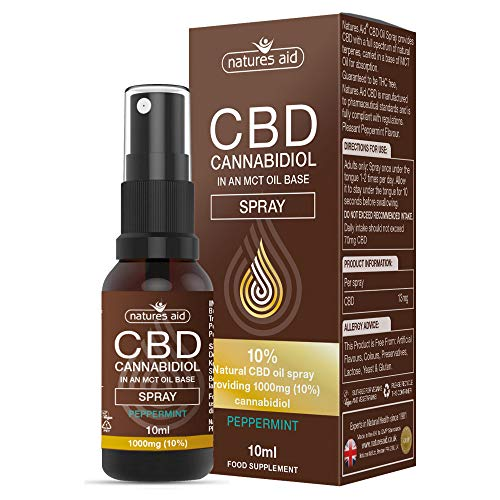 Natures Aid CBD Oil 10% Spray, 1000 mg Cannabidiol, Natural Peppermint Flavour, 10 ml