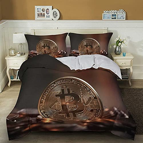 SUYISHI Bitcoin Comforter Cover Set Twin Queen Size for Boys Child Teens Bedroom Novelty Funny Bedding Set(1 Duvet Cover + 2 Pillow Cases) Micorfiber Bedroom Decor (King,B)