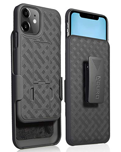 Aduro Combo Case & Holster for iPhone 11, Slim Shell & Swivel Belt Clip Holster, with Built-in Kickstand for Apple iPhone