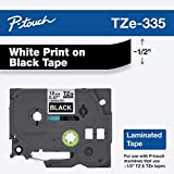 Brother Genuine P-touch TZE-335 Label Tape, 1/2' (0.47') Standard Laminated P-touch Tape, White on black, Laminated for Indoor or Outdoor Use, Water Resistant, 26.2 Feet (8M), Single-Pack