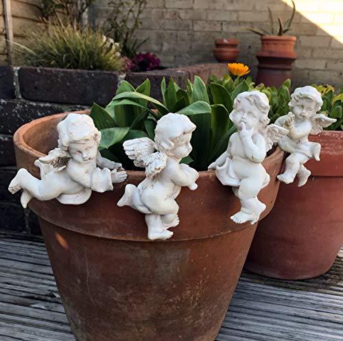 FHFY Garden Set of 4 Cherub Pot Hanger Pot Hugger, gardening ornament, indoor or outdoors.