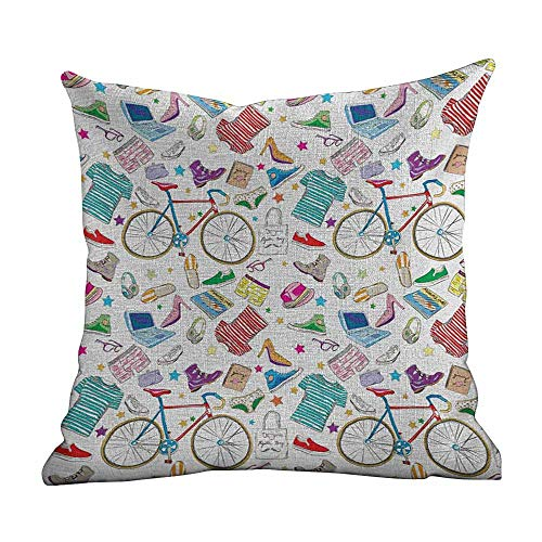 Printed Custom Pillowcase Indie,Urban Hipster Accessories Pattern Colorful Doodle Clothes Shoes Computers Bicycles,Multicolor,Decorative Home Zippered Custom Throw Pillow 18'x18'inch