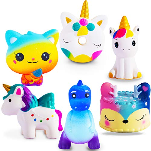 Jumbo Squishies Slow Rising 6 Pack Squishies Animal Newest Unicorn Squishy Toys Party Favors Goodies Bags Class Prize Cream Scented & Kawaii Squishys Stress Relief Toys for Adults Kids