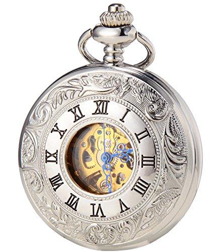 SEWOR Classic Skelett Gold Uhrwerk Automatik Mechanische selbst wind Taschenuhr … (Silver)