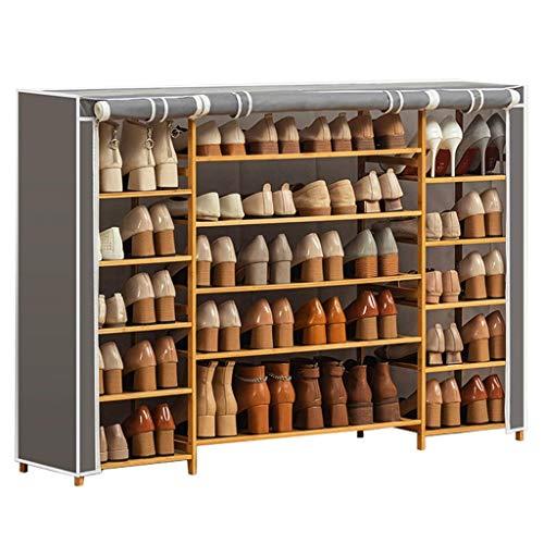 ZAIHW Zapatero Zapatero Organizador de Almacenamiento de Zapatos Gabinete Torre con Cubierta de Tela Oxford Perchas para Zapatos (Color: Gris)