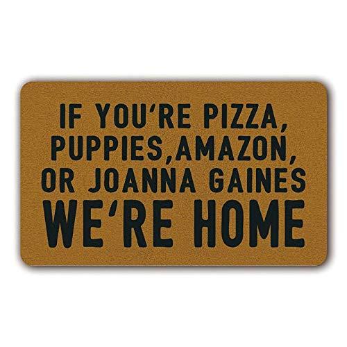 N/A Si Eres Pizza Cachorros Amazon O Joanna Gaines Estamos En Casa - Felpudo Divertido Interior Exterior De Goma Antideslizante Felpudo para Patio Pasillo Exterior Tapete Absorbente