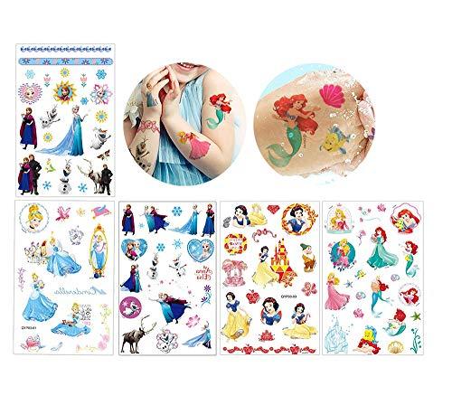 Temporäre Tattoo für Kinder Tattoos Mädchen Aufkleber Sticker Kindertattoos Temporär Tattoos Frozen Temporäre Tätowierung 16 Blatt 400+ Stück Wasserdicht für Geschenktüten Kindergeburtstag Mitgebsel