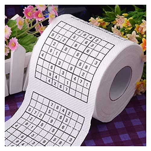 Personalidad 2 Rollos de Papel higiénico Suave Color Impreso Rollo de Papel Papel higiénico para el hogar con Tejido núcleo (Color : Sudoku Game)