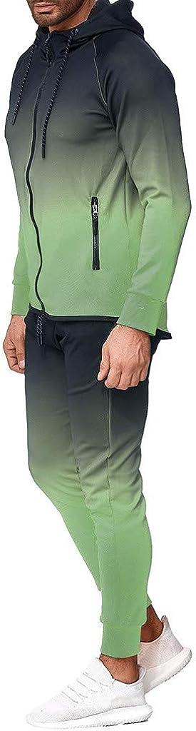 F_Gotal Men 2 Piece Tracksuit Set, Gradient Color Tie Dye Full Zip Athletic Hoodies Outfit Jogger Running Sport Set
