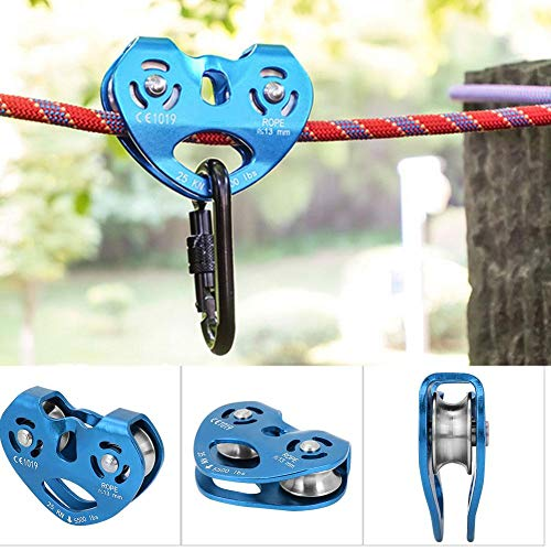Polea de tirolina de Escalada Trolley Doble 25KN Aleación de Aluminio Heavy Duty Single Swivel Rope Polea Block Climbing Safety Equipment(Azul)