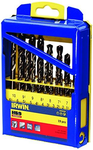 IRWIN 10502569 IW10502569 HSS PRO Cobalt Drill Bit Set (Metal Case) -Pack of 19, 19-Pack