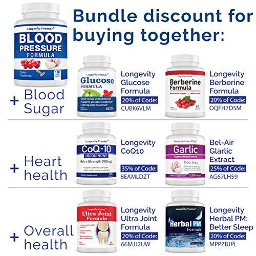 Longevity Blood Pressure Formula [100 Capsules] - with 12+ Natural Herbs. Best Blood Pressure Supplement