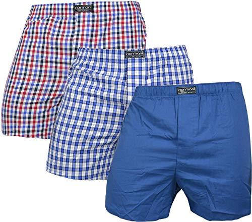 normani 3 x Herren Web Boxershorts aus Reiner Baumwolle Farbe Blau/Rot Größe L