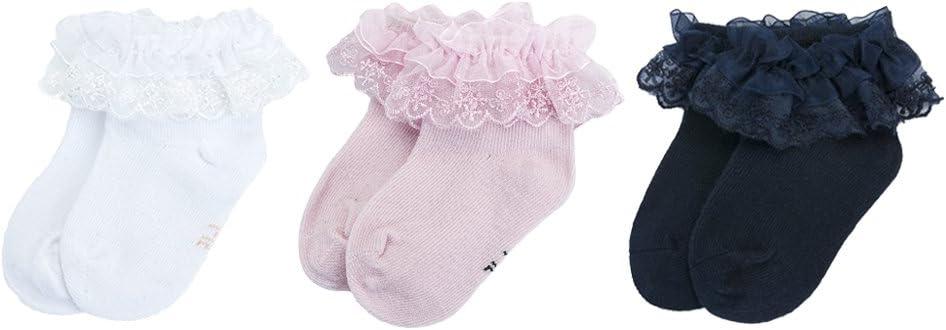 TM Memela Baby Girls Frilly Lace Trim Ruffle Princess Gift Knee High Socks,0-4 Years