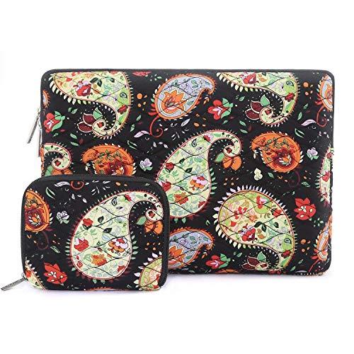MOSISO 360 ° laptoptas met kleine hoes canvas stof ribbelpatroon sleeve tas 13-13,3 Zoll (33-33,8 cm) paisley