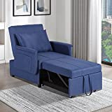 Sleeper Chair Bed,3-in-1 Convertible Sofa Bed, Chase Lounger Pull Out Sleeper Chair, Small Recliner Sofa Chair for Living Room Bedroom, Adjustable Backrest/Linen Fabric/Pillow (Blue)