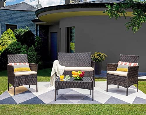 Homall Rattan Garden Furniture 4 Piece Set,Patio Rattan Outdoor Furniture Sets Table Sofa Chair,Outdoor Conservatory Indoor Furniture Weaving Wicker (Brown)