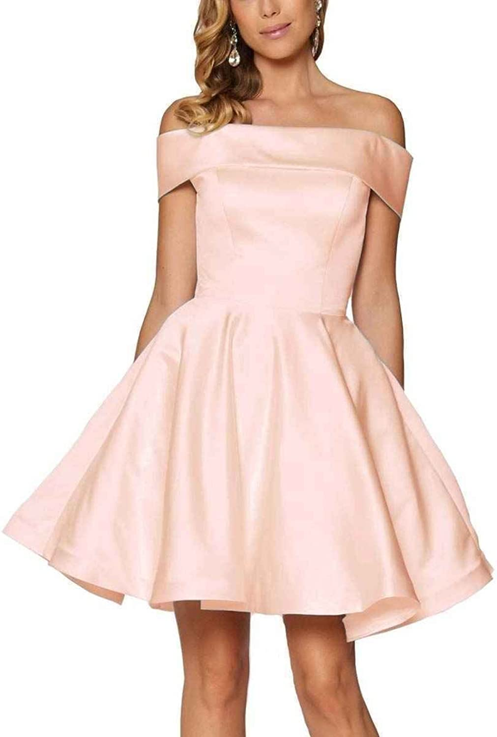 Off Shoulder Homecoming Dresses Short A Line Strapless Prom Evening Gowns Satin