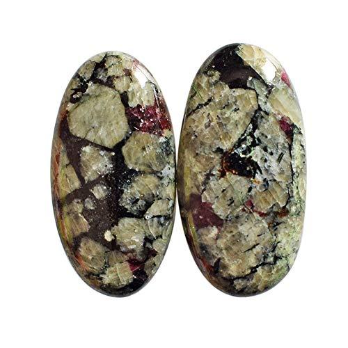 Par de cabujones de eudialita natural, forma ovalada, tamaño 25 x 13 x 4 mm, par de pendientes, parte trasera plana, hecho a mano, para bisutería AG-13715