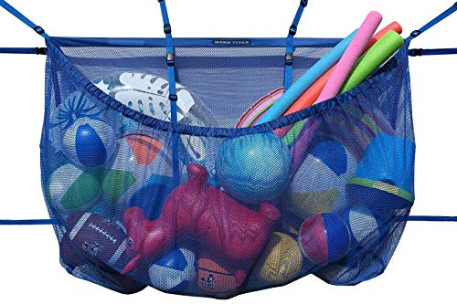 """MESH TITAN Hanging Storage Bag (Blue) - Updated for 2020 - Giant Organizer for Bag Pool, Fence, Deck, Garage, Gym - 60"""" Pouch Floats, Sports Balls, Inflatable rafts, Toys, Yoga More"""