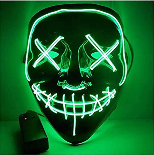 Kaliwa Purge LED Maske für Halloween Fasching Karneval Party Kostüm Cosplay Dekoration - mit 3 Blitzmodi (grün)