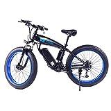 PHASFBJ 26 Pulgadas Bicicleta Eléctrica para Nieve, 350W Bicicleta Eléctrica para Hombre Mountain Ebike 27 Velocidades Bicis Electrica De Montaña Beach Cruiser,48v10ah Blue
