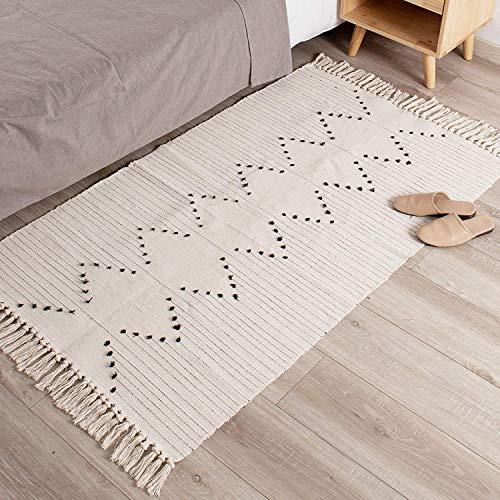 hi-home Tapis pour chambre à coucher, en coton tissé doux avec pompons pour salon, couloir, cuisine, buanderie, décoration d