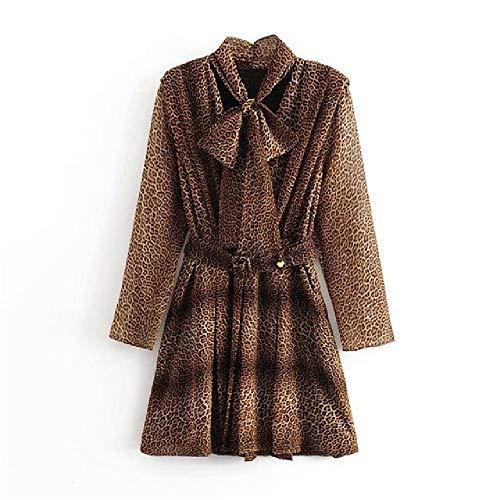 nobrand Frauen Leopard Minikleid Fliege Kragen Langarm Streetwear Kleider Bandage Plissee High Street Sommerkleider