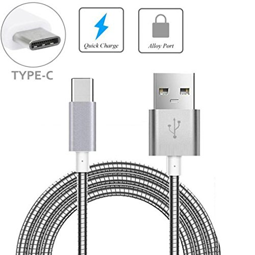 Metal Braided USB Cable Charge Power Sync Type-C Wire 6ft Long USB-C Data Cord [Silver] [Supports Fast Charge] for Virgin Mobile Samsung Galaxy S8