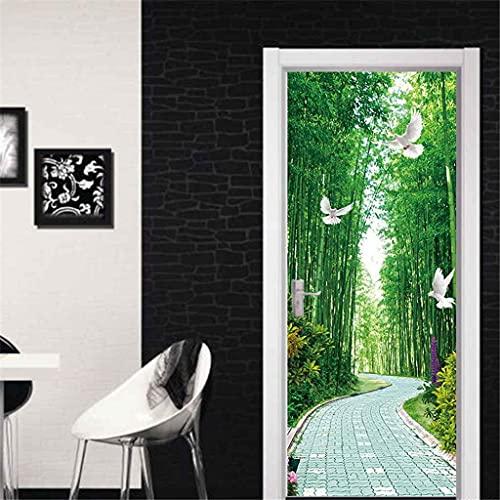 CUUDBP 3D Etiqueta De La Puerta, Paisaje De Bosque De Bambú Verde Impermeable Extraíble Pegatinas De Pared Pintura Mural Autoadhesivos Papel Tapiz Para Puertas Interiores Dormitorio Decoracion 77X200C