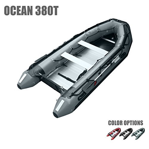 Buy Seamax Ocean380T 12.5 Feet Commercial Grade Inflatable Boat, 5 Pontoon Chambers, Aluminum Floor,...