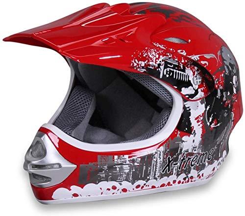Actionbikes Motors Motorradhelm X-Treme Kinder Cross Helme Sturzhelm Schutzhelm Helm für Motorrad Kinderquad und Crossbike Modell in rot (Small)