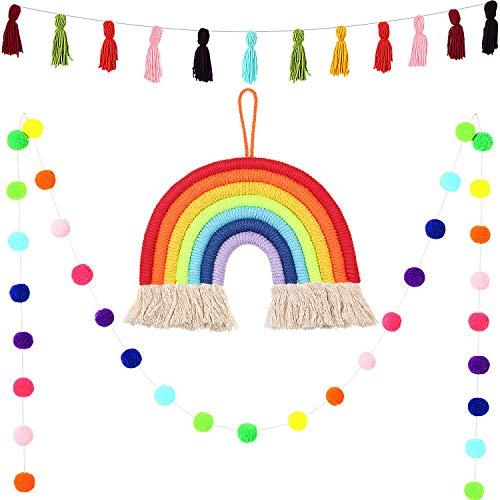 3 Pieces Tassel Garland Pom Pom Ball Banner Cotton Tassel Garland Banner Macrame Rainbow Wall Hanging Decor for Boho Home Party Baby Shower Supplies (Dark Rainbow Colors)