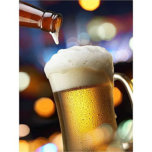 5D Pintura De Diamante Pintura Botella De Cerveza Bordado Icono De Punto De Cruz Taza De Cerveza Decoración Decoración Regalos De 30X40Cm