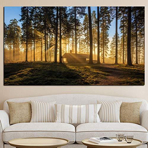 VVSUN Moderno Bosque Paisaje Lienzo Pintura Carteles e Impresiones escandinavo Cuadro de Arte de Pared para decoración de Sala de Estar 60X90cm 24x36 Pulgadas sin Marco