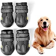 WUXIAN Waterproof Dog Shoes,Dog Outdoor Shoes, Running Shoes for Dogs,Pet Rain Boots, Labrador Husky Shoes for Medium to Large Dogs,Rugged Anti-Slip Sole and Skid-Proof- 4Pcs (8#(3.35''X2.95'')