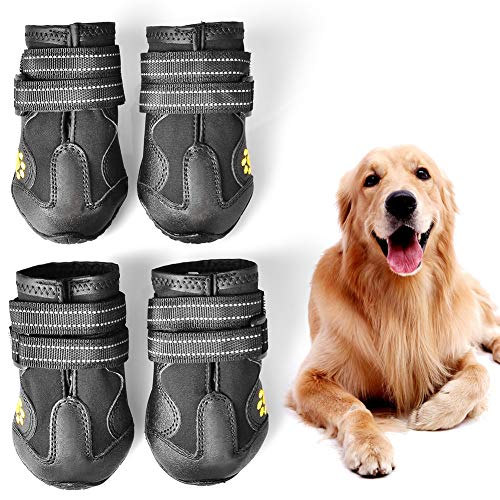 PUPWE Dog Booties,Dog Shoes,Dog Outdoor Shoes, Running Shoes for Dogs,Pet Rain Boots, Labrador Husky Shoes for Medium to Large Dogs,Rugged Anti-Slip Sole and Skid-Proof-4Ps-Size 7
