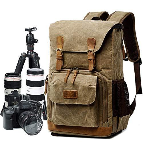 ENLAZY Waterproof Waxed Canvas Camera Bag with Oil Photo Bag SLRR Digital SLR Camera Bag Outdoor Wear-Resistant Backpack for School Hiking Trips, Khaki