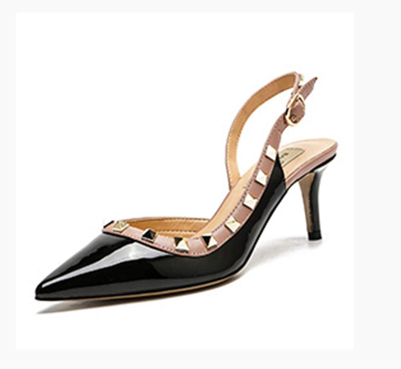 WFXZT Stiletto Sandalen mit hohen Abstzen Flache Sandalen aus Lackleder Damenschuhe mit mittleren Abstzen Für Tanz, Arbeit, Alltag
